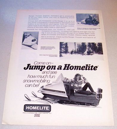 1969 Print Ad for the 1970 Homelite Snowmobile