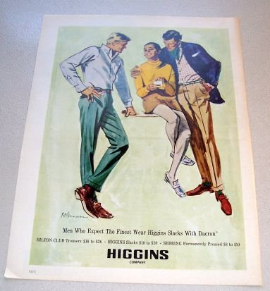 1969 Higgins Company Clothing Color Sketch Art Print Ad