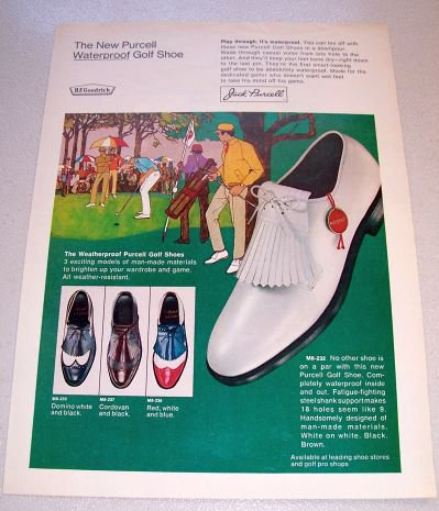 1969 Jack Purcell Golf Shoes Color Sketch Art Print Ad