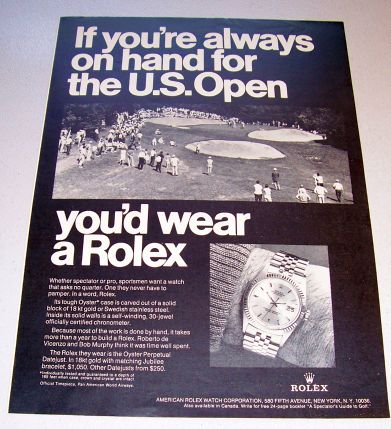1969 Rolex Oyster Perpetual Watch Golf Themed Print Ad