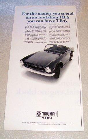 1969 Triumph TR-6 Convertible Automobile Print Car Ad