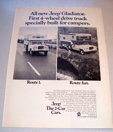1969 Jeep Gladiator Camper Shell Truck Print Ad