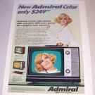 1969 Admiral K-10 Portable Television Color Print Ad