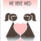 Pink Two Brides Lesbian Wedding Reception Card