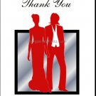 Red Butch-Femme Brides Lesbian Wedding Thank You Card