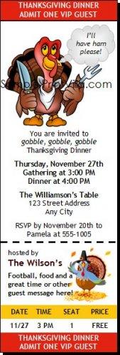 Cartoon Turkey Thanksgiving Ticket Invitation
