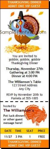 Turkey Thanksgiving Ticket Invitation