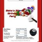 Billiards Candy Bar Wrapper