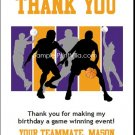 Purple Orange Basketball Team Thank You Cards