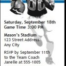 Lions Colored Football Party Ticket Invitation