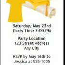 Yellow Grad & Cap Graduation Party Ticket Invitation