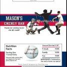 Washington Nationals Colored Baseball Candy Bar Wrapper