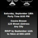 Poker Birthday Party Ticket Invitation