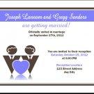 Blue Gay Couple Gay Wedding Reception Card