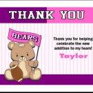 Football Teddy Bear Baby Shower Thank You Card Pinkle