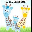 Giraffe Family Baby Shower Ticket Invitation
