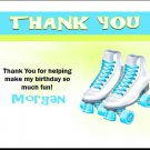 Roller Skates Teal Lime Thank You Cards