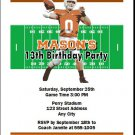 Texas Longhorns Colored Football Field Birthday Party Invitations