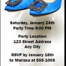 Blue Stiletto Birthday Party Ticket Invitation