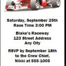 Race Car Birthday Party Ticket Invitation