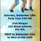 Dancing Teens Blue Birthday Party Ticket Invitation