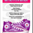 All Star Shoes Purple Birthday Party Invitation