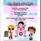 Girl Rock Band Blue Pink Party Invitation