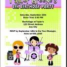 Girl Rock Band Purple Green Party Invitation