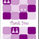 Purple Squares Lesbian Wedding Thank You Card