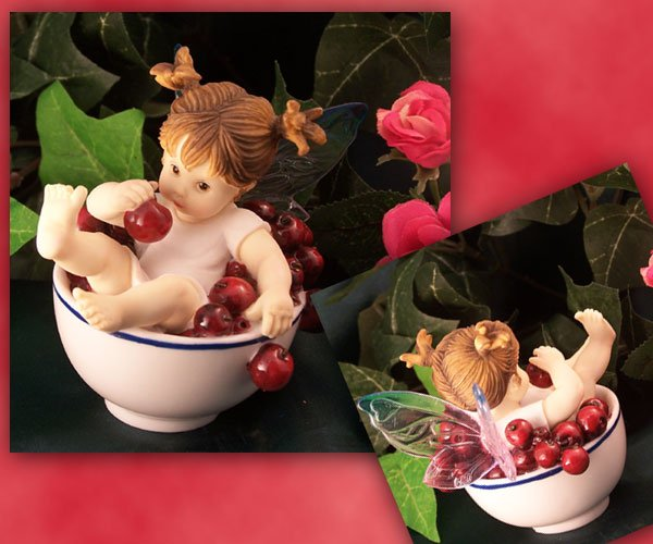 Kitchen Fairy in Bowl of Cherries