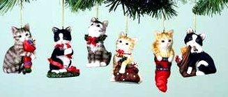 Cat Ornaments Set of 6 Assorted