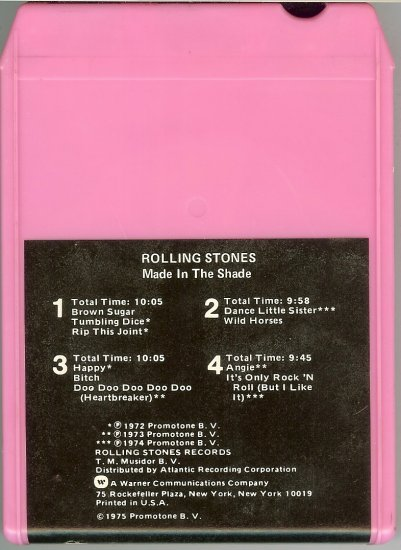 Rolling Stones - Made in the Shade 1975 WB 8-track tape