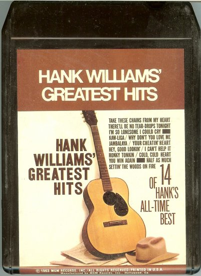 Hank Williams Sr. - Greatest Hits 1963 MGM Re-issue A21B 8-track tape