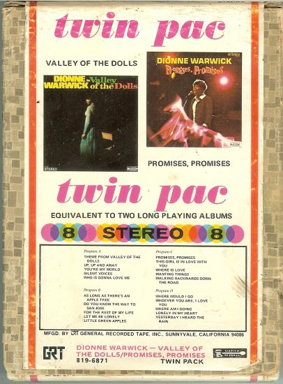 Dionne Warwick - Valley of the Dolls and Promises, Promises 1968 GRT SCEPTER 8-track tape