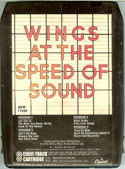 Paul McCartney & Wings - Wings At The Speed Of Sound 8-track tape