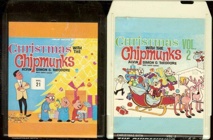 Chipmunks - Christmas With The Chipmunks Vol. 1 & 2 MISTLETOE 8-track tapes
