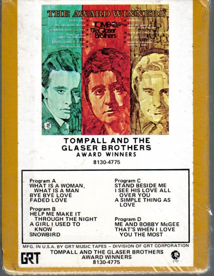 Tompall And The Glaser Brothers - Award Winners Sealed 8-track tape