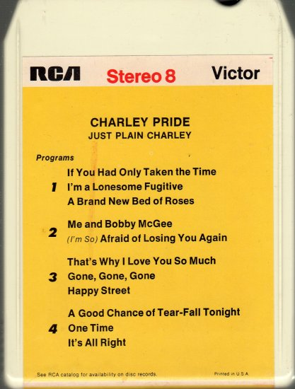Charley Pride - Just Plain Charley 8-track tape