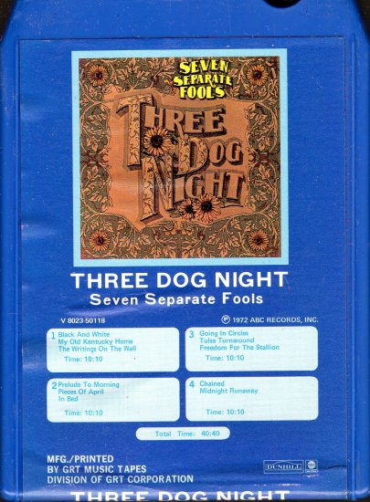 Three Dog Night - Seven Separate Fools GRT 8-track tape