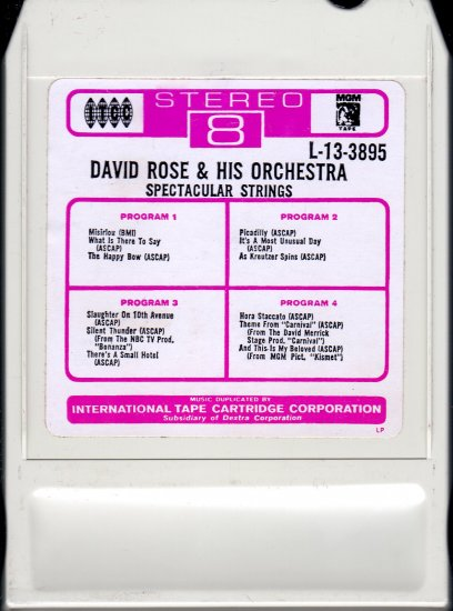David Rose And His Orchestra - Spectacular Strings ITCC LEAR AMPEX A14 8-track tape