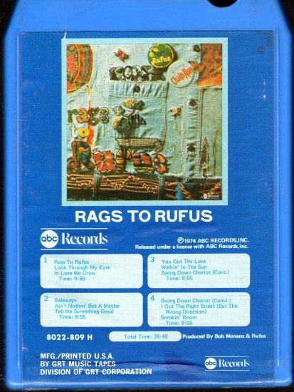 Rufus - Rags To Rufus 8-track tape