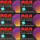 Six Sealed RCA Hi-Fi Audio Blank Cassette Tapes