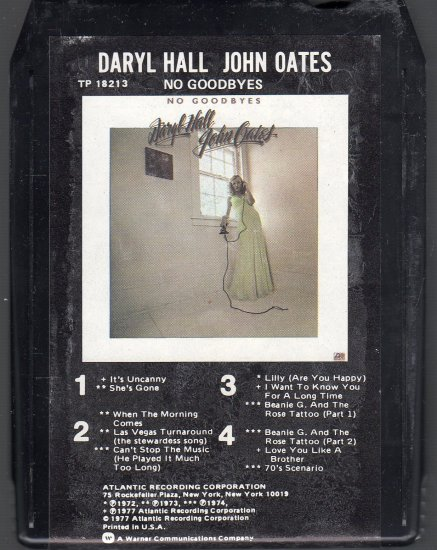 Daryl Hall & John Oates - No Goodbyes 1976 ATLANTIC 8-track tape
