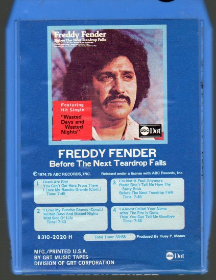 Freddy Fender - Before The Next Teardrop Falls GRT 8-track tape