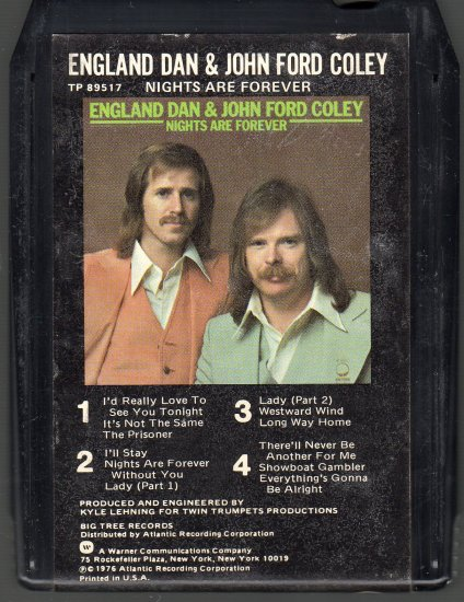 England Dan & John Ford Coley - Nights Are Forever 8-track tape