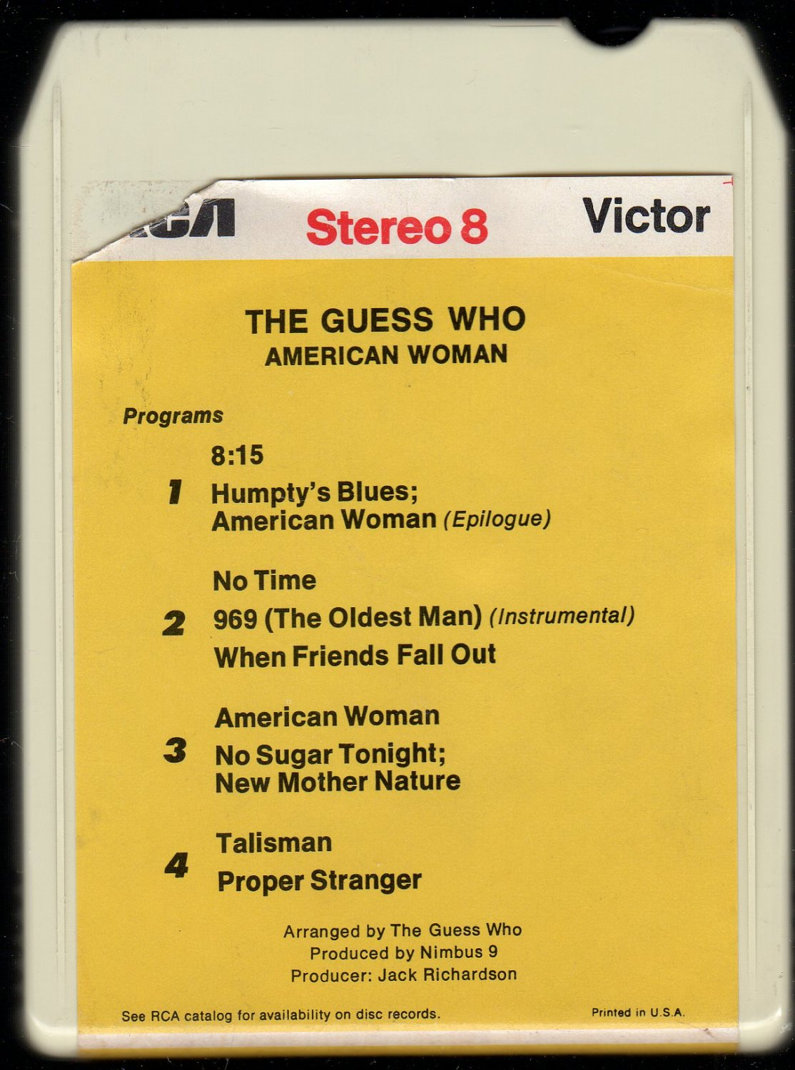 The Guess Who - American Woman 1970 RCA 8-track tape