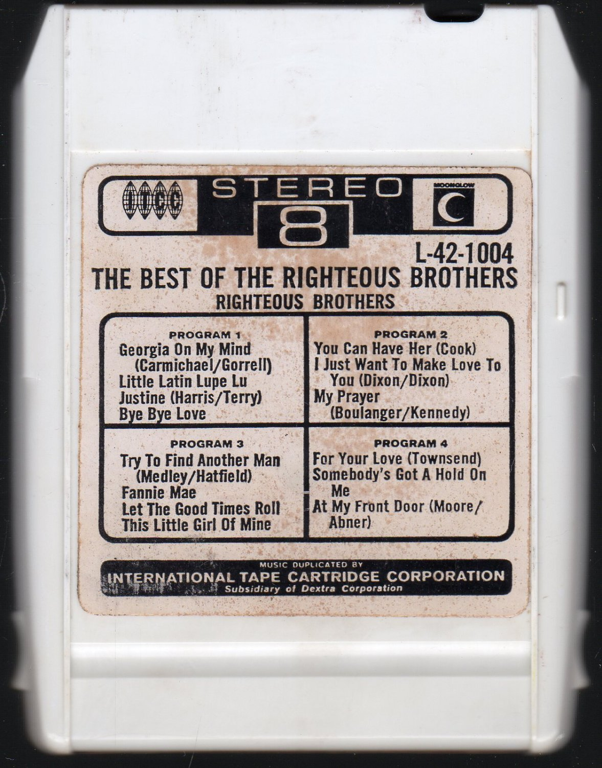 The Righteous Brothers - The Best Of The Righteous Brothers 1966 ITCC MOONGLOW A40 8-track tape
