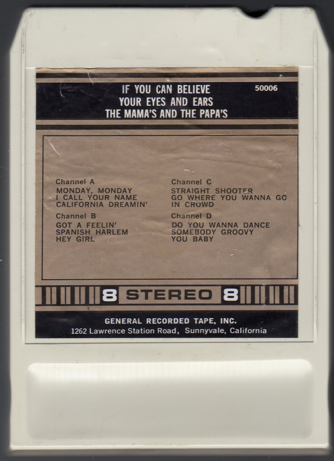 The Mama's And The Papa's - Eyes And Ears 1966 Debut GRT AC5 8-track tape