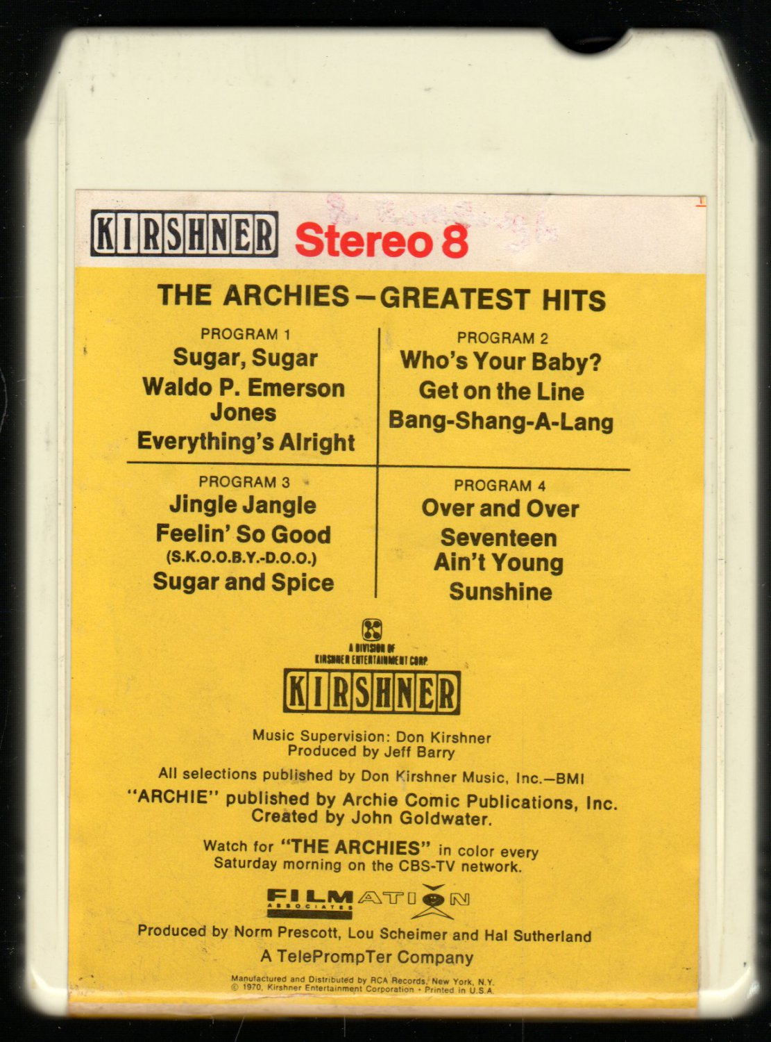 The Archies - Greatest Hits 1970 RCA KIRSHNER A19A 8-track tape