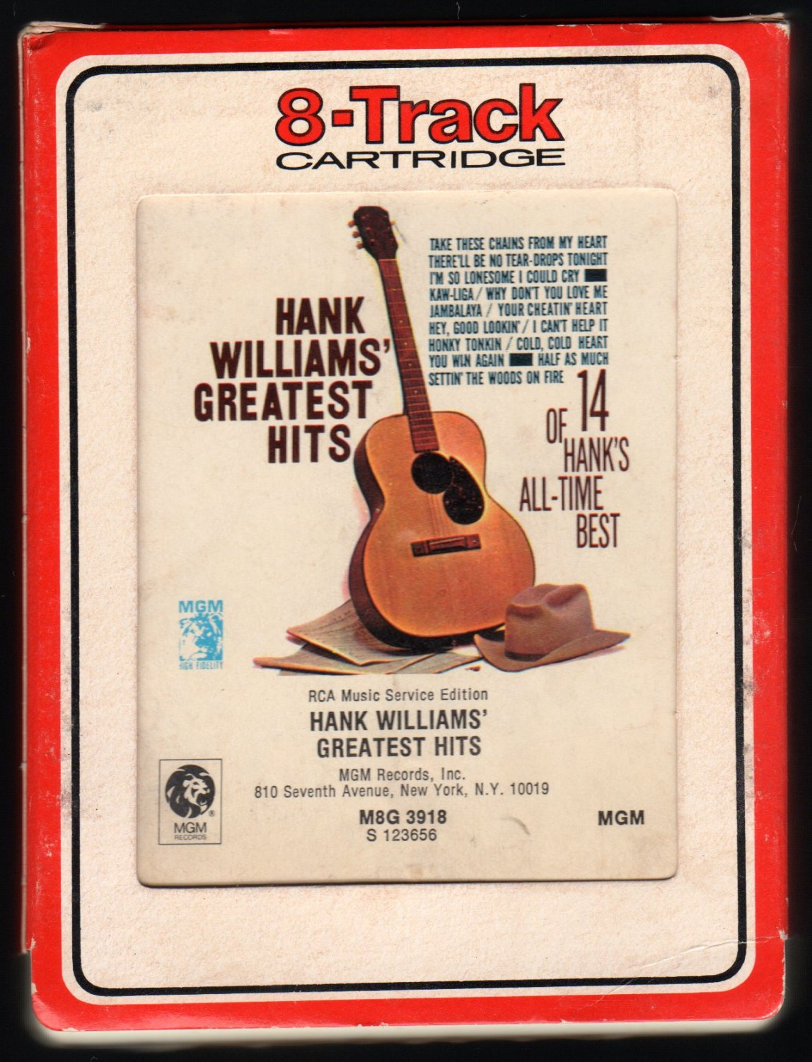 Hank Williams Sr. - Greatest Hits 1963 RCA MGM Re-issue A26 8-TRACK TAPE
